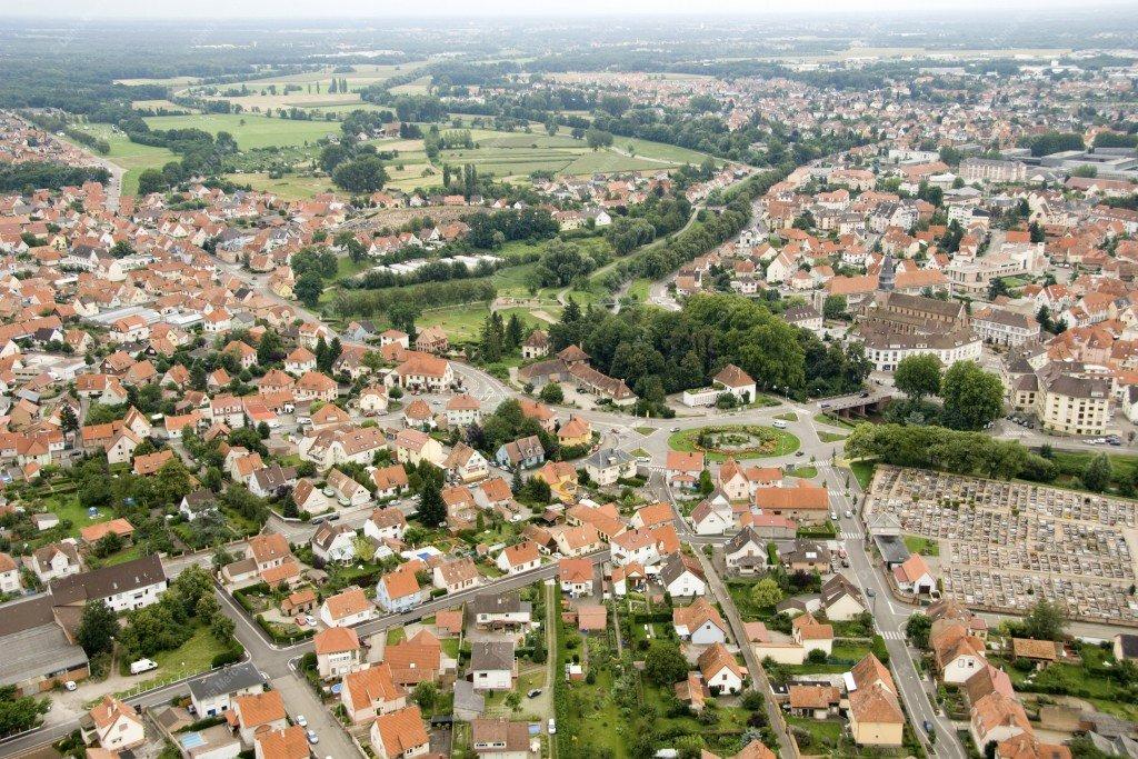 Vue aérienne de Haguenau en Alsace