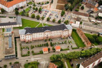 Vue aérienne avec la médiathèque de Haguenau