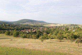 paysage de la campagne alsacienne avec le village de Woerth