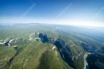 Vue aérienne des Gorges de l'Ardèche